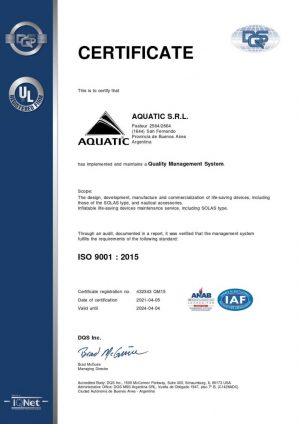 Certiicacion ISO Aquatic